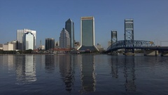 Jacksonville skyline with reflections of skyscrapers, Florida, USA Arkistovideo