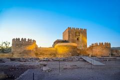 Medieval moorish fortress Alcazaba in Almeria Stock Photos