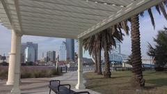 POV, Jacksonville skyline and Main Street Bridge, Florida, USA Stock Footage