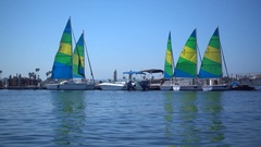 Sailboats on Mission Bay, San Diego, California, super slow motion. Stock Footage