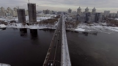 City Traffic on the bridge, it's snowing Stock Footage