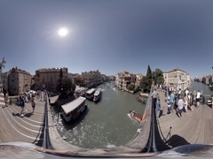 View from Accademia bridge, Venice Italy with boats and gondolas, 360 video VR Stock Footage
