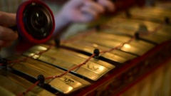 Playing javanese gamelan part - Slenthem Stock Footage