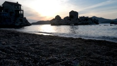 Sunset on the beach in Milocer Montenegro Stock Footage