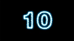 Electric counting number 10 to 0 on dark background ( 4K ) Stock Footage
