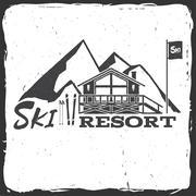 Ski resort concept with cottage Stock Illustration
