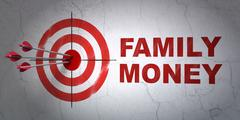 Banking concept: target and Family Money on wall background Stock Illustration
