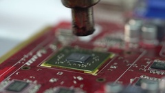 Master removes with thermal air soldering station video card chip Stock Footage