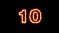 Fire counting number 10 to 0 on dark background ( 4K ) Stock Footage
