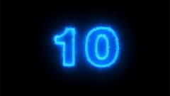 Blue counting number 10 to 0 on dark background ( 4K ) Stock Footage