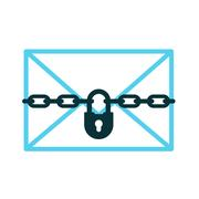 Confidential letter icon of padlock with chain Stock Illustration