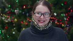 Woman on new year background light Stock Footage