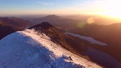 Spectacular sunrise over Crib Goch in Snowdonia, UK. Stock Footage
