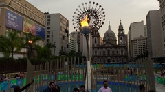 Olympic flame timelapse in Rio 2016 Stock Footage