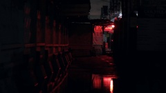 Flashing light in a dark alley Stock Footage