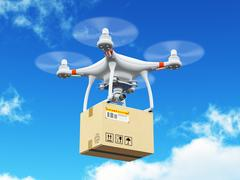 Delivery drone with cardboard box in the blue sky Stock Illustration