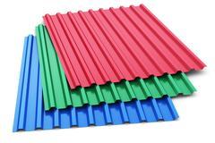 Group of color steel profile sheets Stock Photos