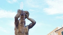 Triton Fountain closeup in Piazza Barberini in Rome, Italy Stock Footage