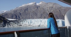 Travel tourist on cruise ship in Glacier Bay, Alaska, USA Stock Footage