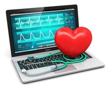 Laptop with medical diagnostic software, stethoscope and red heart shape Stock Illustration