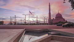 Putrajaya Mosque, Putrajaya. Time lapse. Sunset view from Putra Square. Stock Footage