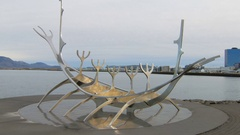 Reykjavik, Iceland -: The Viking Monument on a background of Stock Footage