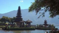 Pura Ulun Danu temple on a lake Beratan in Bali, Indonesia Stock Footage
