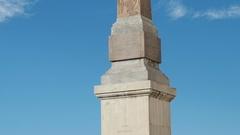 Obelisk pano at trinita' dei Monti in Rome, Italy Stock Footage