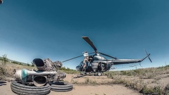 Timelapse Repair of Agriculture Helicopter. Engineers are changind the engine Stock Footage