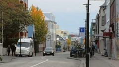 Reykjavik, Iceland -: view of street in downtown in Reykjavik, good Stock Footage
