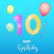 Birthday anniversary card. Balloon number ten Stock Illustration