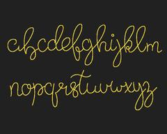 Glitter gold script alphabet. Shiny brush calligraphy typeface Stock Illustration