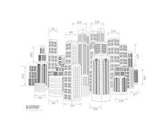 Building wireframe. 3d render city Stock Illustration