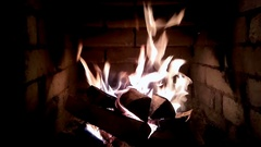 Fireplace with medium size flames Stock Footage