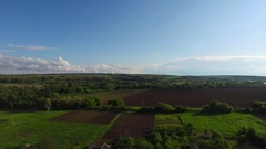 Panorama of countryside in sunny day after storm Stock Footage