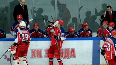 Hockey players change at the match Stock Footage