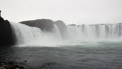 Godafoss Falls in Iceland Stock Footage