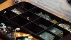 Master takes the processor out of the box for processors Stock Footage