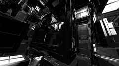 4K Abstract Black and White 3D Shape VJ Animation Stock Footage
