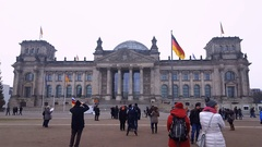 Berlin, Germany The Reichstag building facade. Stock Footage