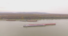 Aerial shot of Danube and River transport traffic Stock Footage
