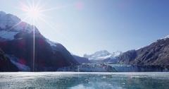 Alaska Glacier Bay landscape with Johns Hopkins Glacier and mountains Stock Footage