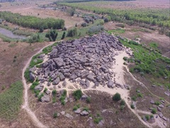 Monument of history in Ukraine, Stone Tomb  Kvadrakopter shooting from Stock Footage
