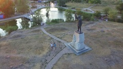 Monument to Prince Svyatoslav  Flyby on quadrocopters semicircle Stock Footage