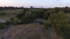 The majestic monument to Prince Svyatoslav shot with quadrocopters Stock Footage