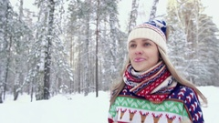 Portrait of attractive smiling woman enjoying her jogging in the forest Stock Footage