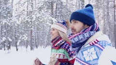 Lovely couple in colorful clothes enjoying their training in nature Stock Footage
