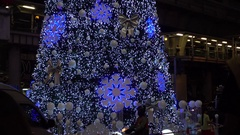 Christmas tree with decorative lights Stock Footage