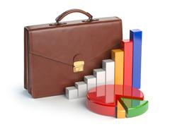 Stock market portfolio concept. Briefcase and graph isolated on white backg.. Stock Illustration