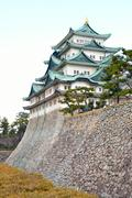 Nagoya castle, moat and pine trees in Japan Stock Photos